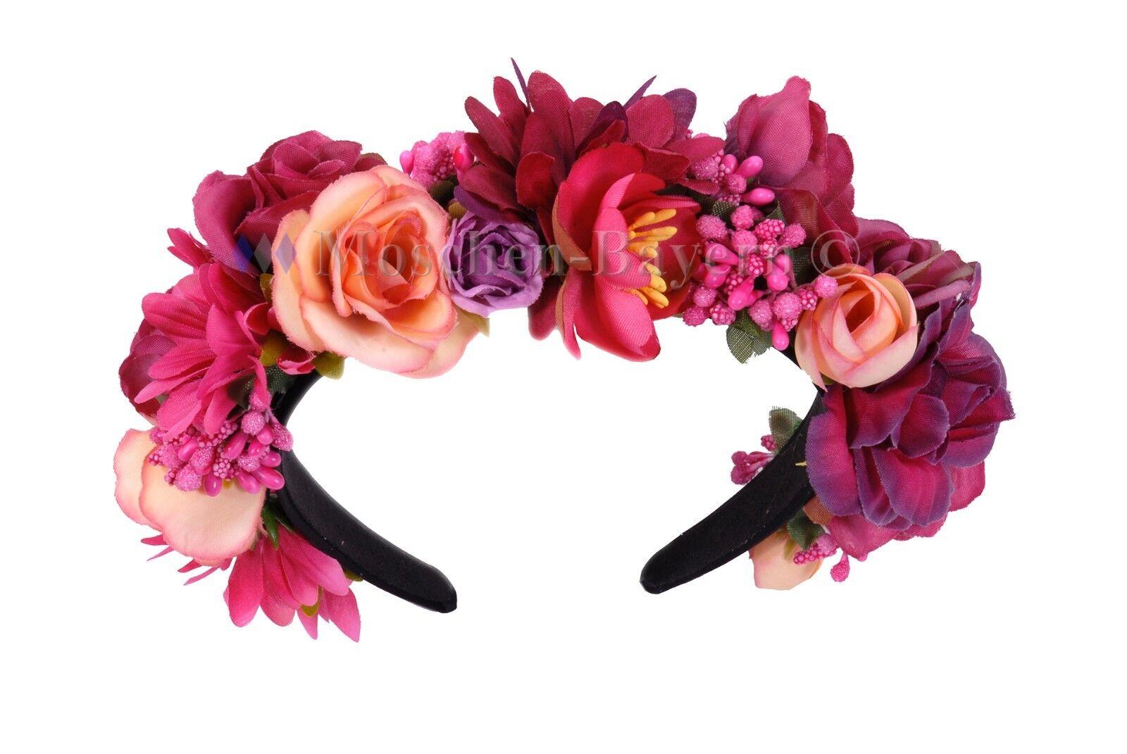 trachten blumenkranz haarreif blumen haare haarband haarschmuck hochzeit pink ebay. Black Bedroom Furniture Sets. Home Design Ideas