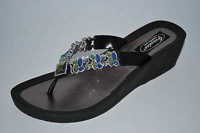 Grandco Ladies Butterfly Wedge Thong Sandal Jeweled Black Brown or White 26743E ()
