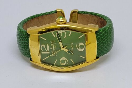 Joan Rivers Classics Gold Tone Green Leather Clamper Cuff Watch
