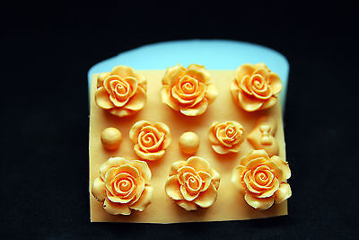 8 Roses, Silicone Mold Chocolate Polymer Clay Jewelry Soap Melting Wax Resin
