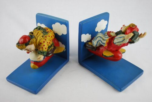Children Bookends - Set of Book Ends - Circus Clowns Flying Airplane Plane
