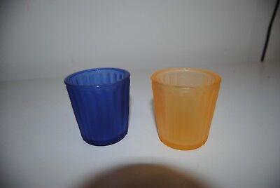 5 Teelichtgläser blau gelb Teelichthalter für Votivkerzen Teelichter Duftkerzen
