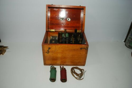 Antique SCHALL & SON, London Shock Treatment Device Wood Case, Quack Medicine