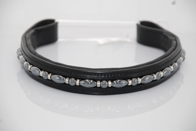 """16"""" (Full/Horse) Black Browband with Hematite and Clear Crystals"""