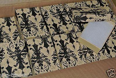 Lot Of 10 Damask Print Cotton Filled Jewelry Gift Boxes 3 116 X 2 18 X 1 Box