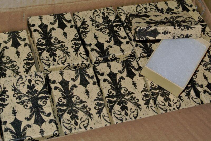 "LOT OF 10 Damask Print Cotton Filled Jewelry Gift Boxes 3 1/16"" X 2 1/8 X 1 Box"
