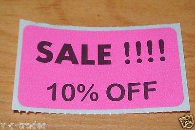 Lot 200 Pink Sale 10 Off Price Labels Stickers Tags Retail Store 2x1 Inch