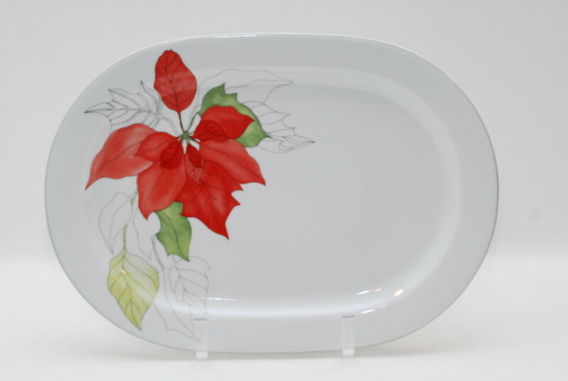 Block Poinsettia Mary Lou Goertzen Turkey Platter 15.75 Inch