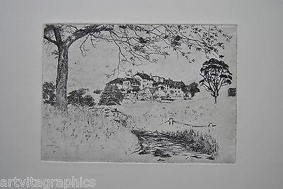 E. Decker Landschaft mit Häuser signiert i.Dr. 1903 Radierung auf Bütten