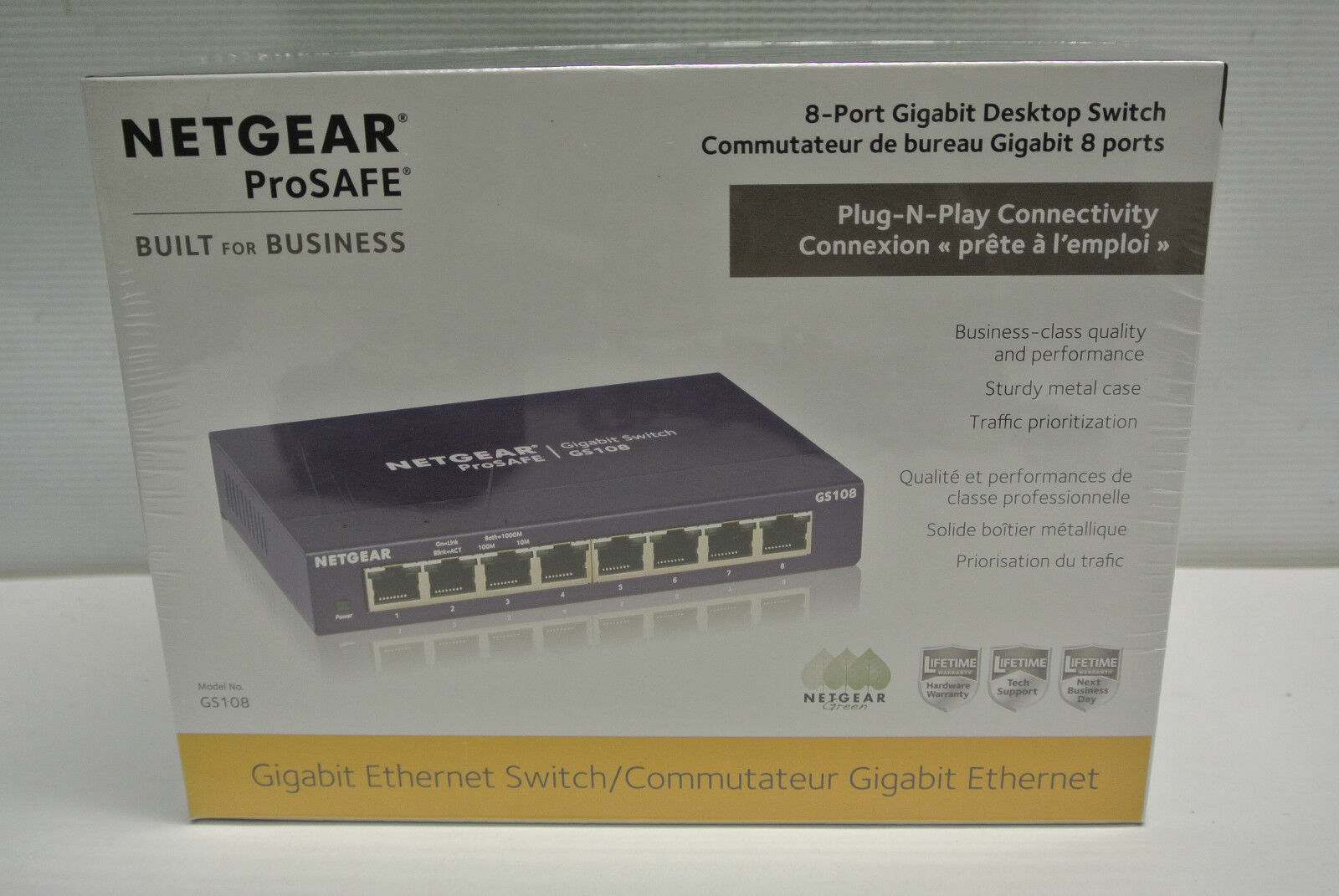 NIB ProSafe NetGear Model GS108 -400NAS, 8 Port Gigabit Ethe