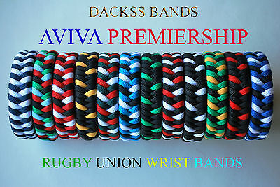Rugby Union Hand Made Aviva Premiership Teams  550 Paracord WristBand Bracelet