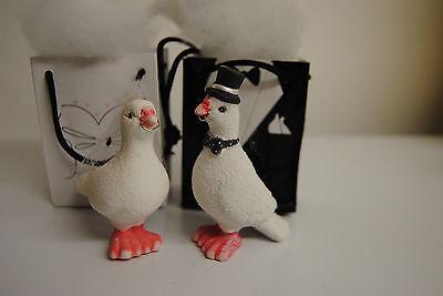 Tauben in Geschenk Tasche Hochzeit-Tauben 1 Paar 9 cm mit Schleier Hochzeit weis