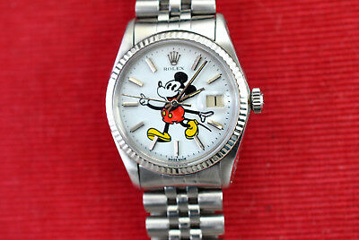 Rolex Datejust 1601, stainless/gold with custom Mickey Mouse dial, serviced, box