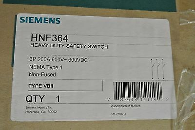 New In Box Siemens Hnf364 200 Amp 600 Volt Non Fusible Indoor Disconnect