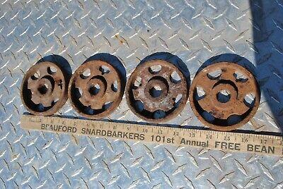 Vintage Antique Small Cast Wheels Hit Miss Gas Engine Steam Industrial Cart