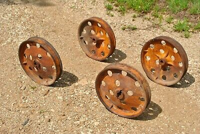 Vintage Antique Mm Tall Cast Wheels Hit Miss Gas Engine Steam Industrial Cart