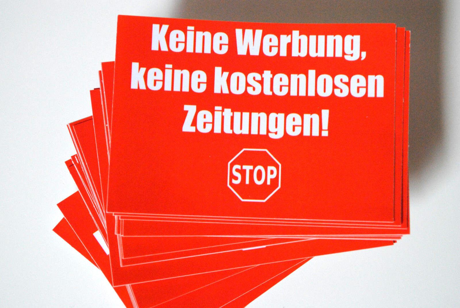 """3 x Aufkleber """"Keine Werbung, keine kostenlosen Zeitungen"""" Briefkasten"""
