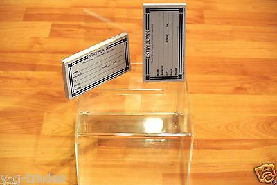 clear acrylic raffle WITH SIGN CONTEST Ballot Donation Box 7X4X8 WITH 200 FORMS - Raffle Box