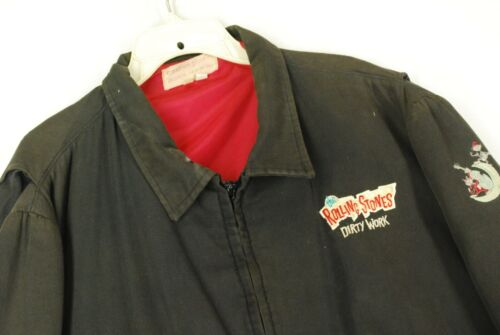 Vintage 80s The Rolling Stones Concert Promo Jacket Dirty Work Distressed XL