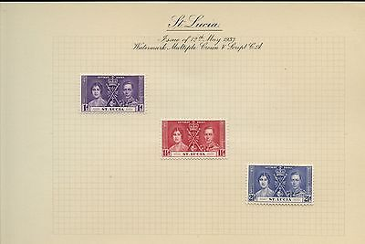 St. Lucia 1937 KGVI Coronation MH Set On Page #V272