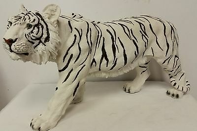 Standing White Tiger Collectible Wild Cat Animal Decoration Figurine Statue