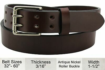 Brown Smooth Edge Double Prong Bullhide Dress or Casual Belt Quality USA (Brown Edge)