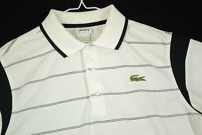 Lacoste Striped White Polyester Short Sleeve Golf Polo Shirt Mens 4 M