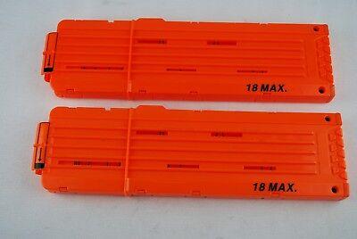 🔶 Nerf Lot of 2 Orange 18 Round Max Dart Ammo Clip Magazine Replacement