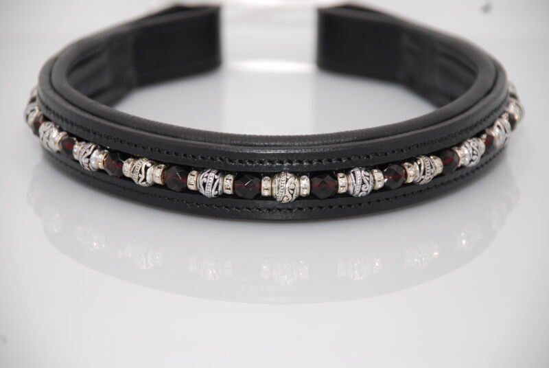 """16"""" (Full/Horse) Black Browband w/ Red Crystals & Metal Beads"""
