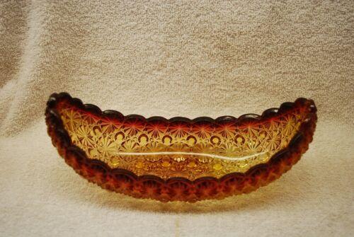BEAUTIFUL VICTORIAN EAPG HOBBS AMBERINA DAISY & BUTTON CANOE BOAT 1880S