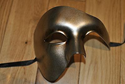Mens Bronzed gold Venetian Phantom/Half face Mask.Masquerade /Ball /Prom.UK POST