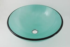 Above counter bathroom glass vessel sink basin translucent sea foam green for Above counter bathroom sinks glass