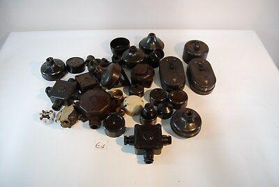E1 Ensemble de + 25 pièces électriques - Bakelite - métal - prises - crunch 1