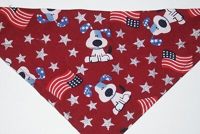 Dog Bandana, OVER THE COLLAR,clothes, pet, Size M,L,XL, Patriotic Pups/Maroon!