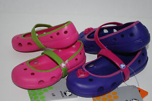 NWT-CROCS-KEELEY-GIRLS-FUCHSIA-PINK-PURPLE-heart-mary-jane-8-9-10-11-12-13-shoes