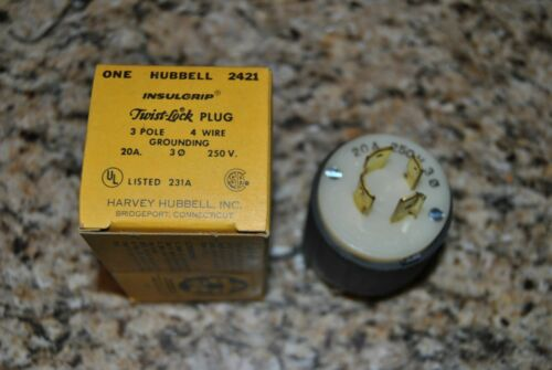 2 Hubbell 2421 Twist Lock Plug 20A 250V