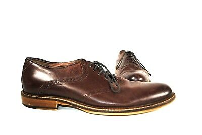 Aston Grey Brown Leather Mens Oxford wingtip Shoe - Size 9.5