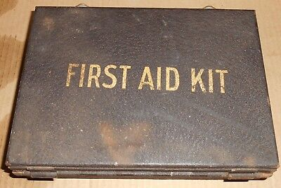 """Antique Mine Safety Appliances First Aid Kit Wall Mount WWII era full 9"""" x 6.5"""""""