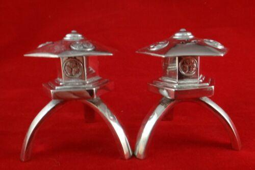 "Pair Vintage Japanese Sterling Silver Salt & Pepper Lanterns, 2 ¼"" tall."
