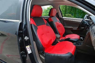 A153 Red Leather Like 2 Front Bucket Car Seat Cover Compatible To Toyota Corolla Blk Leather Like Cover