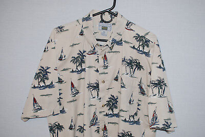 Michael Austin Rugged Wear Mens SS Ivory Shirt Sailboats Barely Worn Size XL EUC