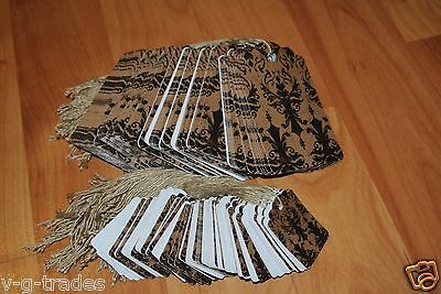 Lot 200 100 Large 100 Small Distressed Damask Print Paper Price Tags W String