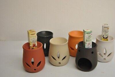 Rot Duftlampe (Duftlampe Blätter mit Duftöl aus Keramik h. 12 cm von Pajoma rot weiß braun beig)