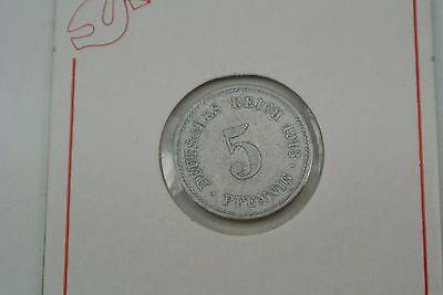 """5 Pfennig 1913 """" E """" Kaiserreich ss / sehr schön..M118"""