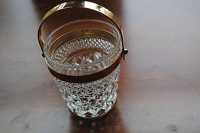 Vintage Glass Decorative Serving Bowl small large diamonds w/ gold metal Handle