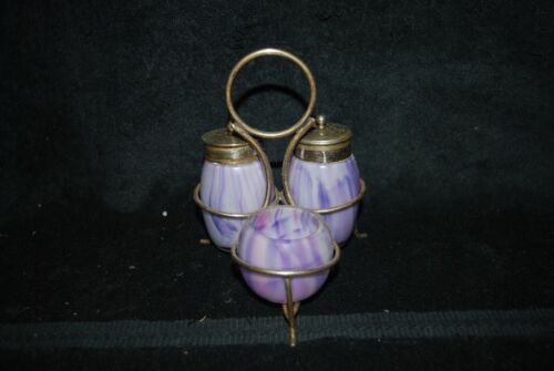 BEAUTIFUL VICTORIAN PURPLE SLAG SALT SHAKER TOOTHPICK HOLDER CONDIMENT SET C1900