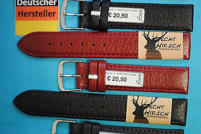 Schwarz Hirschleder (Echt Hirsch Leder Uhrband weich18 20mm schwarz braun weinrot made in Germany)