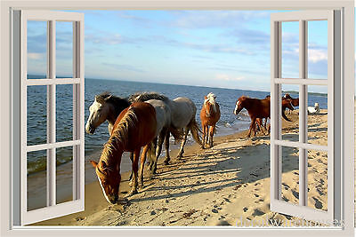 Horses Ocean Window View Repositionable Color Wall Sticker Wall Mural Print ()