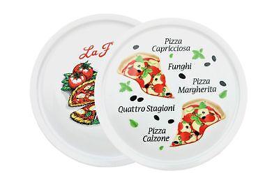 2er Set Pizzateller Motiv Design 30,5cm Porzellan weiß Pizza Pasta Teller Neu Design Teller