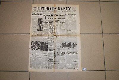 EL1 Old French Journal - L'Echo de Nacy - 42 - WW2 Hitler War - Militaria guerr